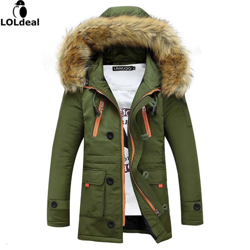 Navy Parka 2017 Winter JacketThicker plus velvet Men Fashion Design Big Fur Hooded Men's Long Down Jacket Coat