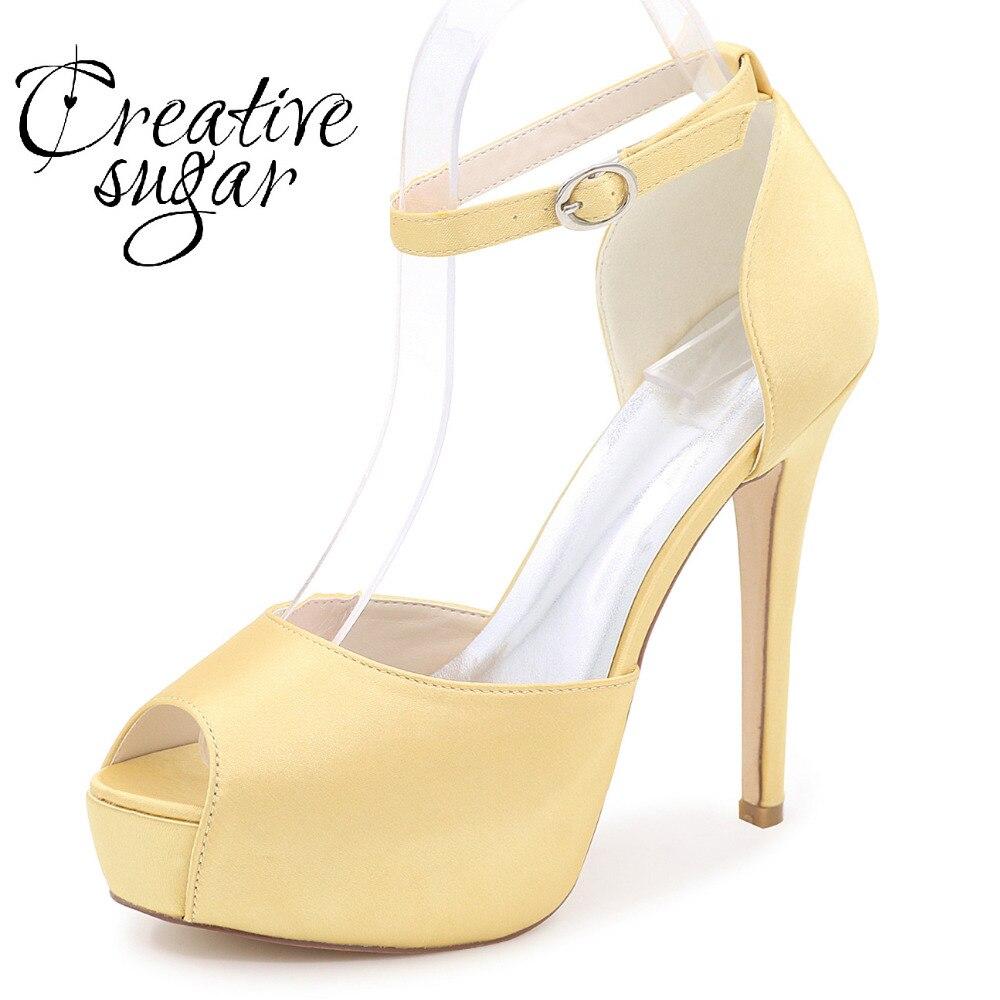 Creativesugar satin high heel platform D'orsay peep toe woman pumps ankle strap dress shoes party wedding prom heels gold silver