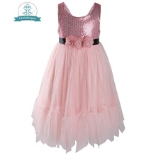 Flofallzique Sleeveless Sequins With Tulle Kids Clothes Three Flowers Decorative Black Ribbon Wedding Party Girl Toddler dress