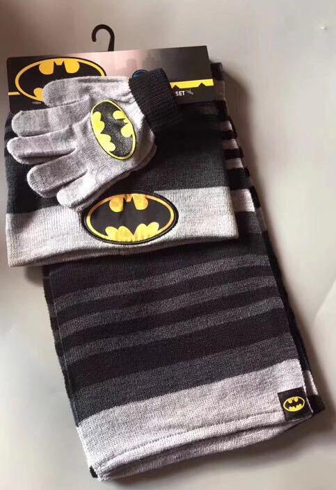 1set Avengers Batman Knit Beanie Hat Children Christmas Winter Knitted Scarf Gloves Hat Set Party Kids Gifts 2-10Y