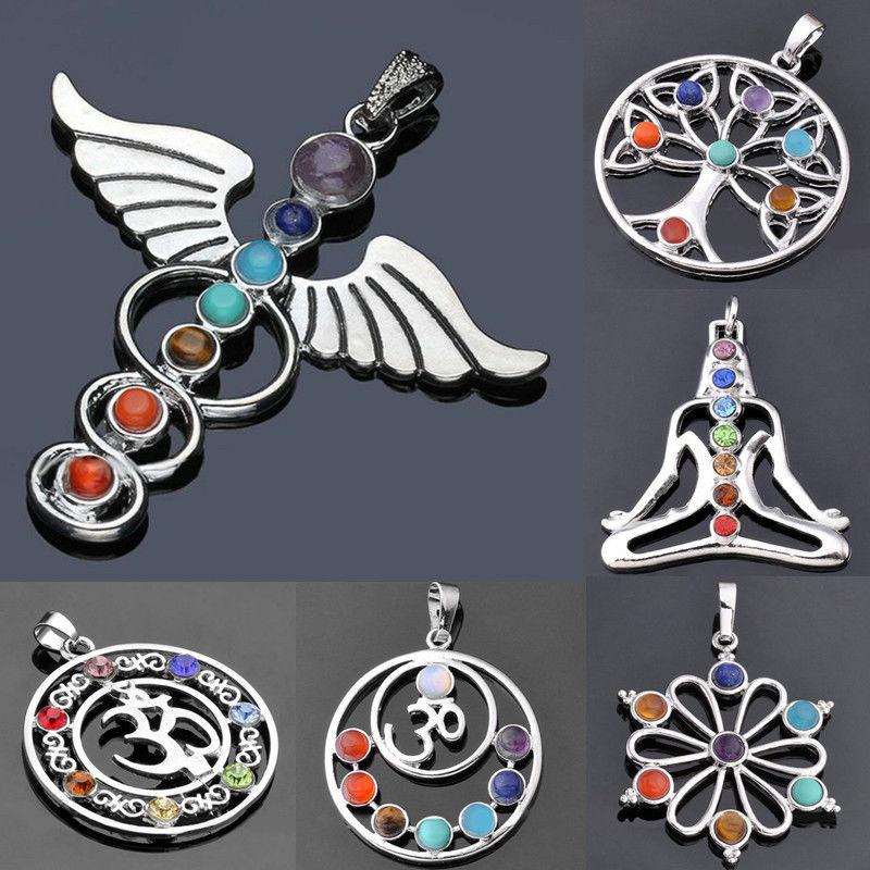 7 Chakra Stones Chakra Reiki Point tree of life pendant charm pendant jewelry Ankh Yoga charm 3D stone necklace