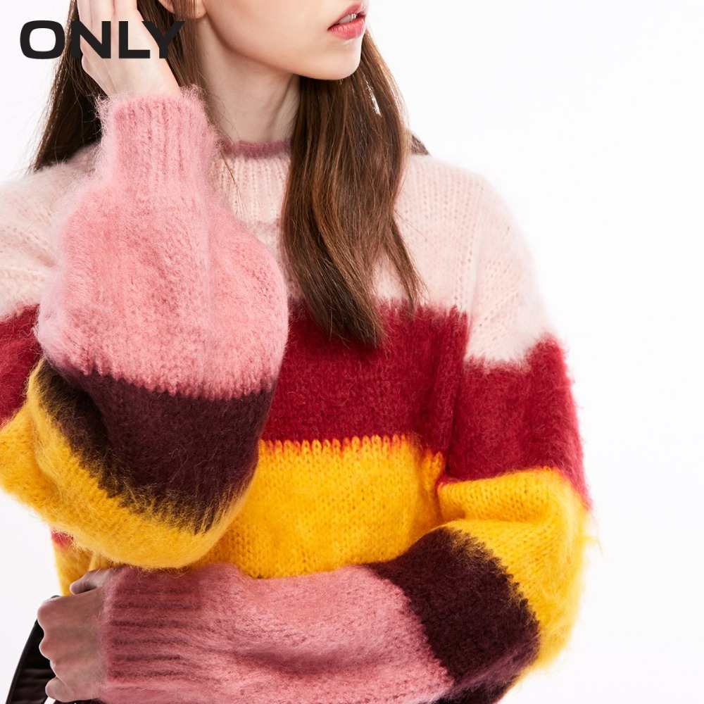 ONLY  Womens' Winter New Striped Sweater Lantern Sleeves Soft And Comfortable|118313530