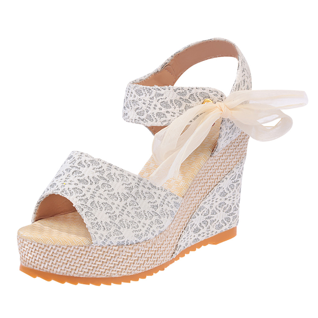 Wedges Sandals Platforms-Shoes High-Heels Gladiator Lace Bow-Tied
