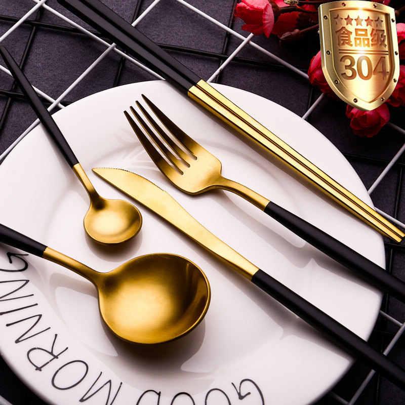 Matte สีดำชุดช้อนส้อมสแตนเลส Flatware ชุดห้องครัว Silverware อาหารเย็นช้อนส้อมมีดตะเกียบ 1 pc