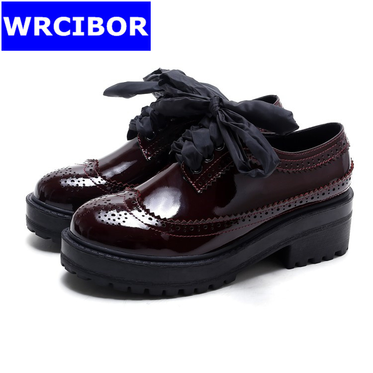 Fretwork Vintage Brogue Shoes font b Woman b font Platform Flats Lace up font b Women