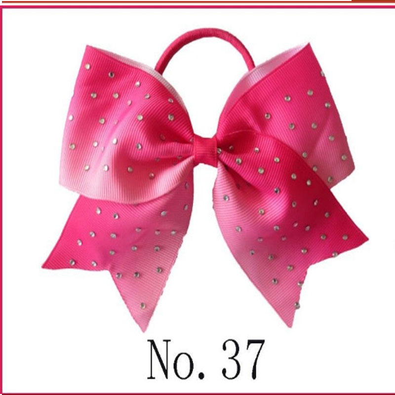 """14 BLESSING Happy Girl Hair Accessories 4.5/"""" Double Cheer Leader Bow Elastic"""
