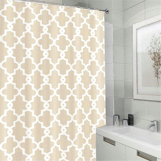 Waterproof Polyester Geometric Shower Curtain Printed Design With 12 Hooks Rings Mildewproof Bathroom Products