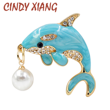 CINDY XIANG Cute Light Blue Color Dolphin Brooches Enamel Pin Fish Animal Brooch Beautiful Summer T-shirt Jewelry Drop Shipping