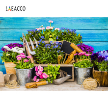 hot deal buy laeacco spring potted flower garden tools blue fade wooden wall photographic backgrounds photography backdrops for photo studio