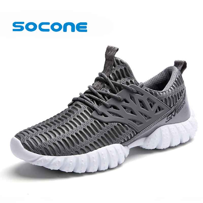 Socone Size 36-47 Men Summer Lightweight Running Shoes Comfot Lace-up Outdoor Walking Shoes Sport Sneakers Trail Running Shoes