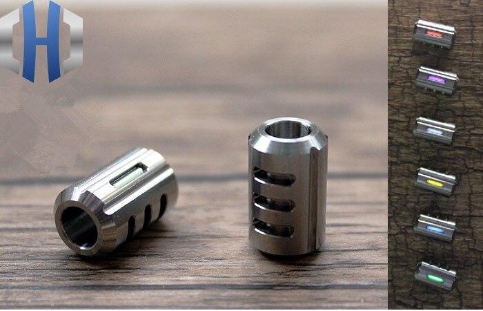 Titanium Alloy Knife Beads Paracord Can Fits 2pcs Tritium Gas Tube Umbrella Rope EDC Multi Tools Outdoor Parachute Cord Gadget