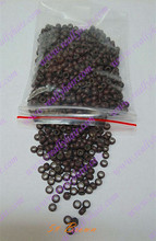1000pcs pack Brown silicone micro nano bead with silicone line for Nano Hair Extensions tool kit