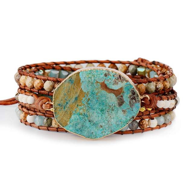 Women Leather Bracelet Unique Mixed Natural Stones Gilded Stone Charm 5 Strands Wrap Bracelets Handmade Boho