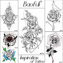 4fe7b94cf Baofuli Sketch Art Tattoo Rose Geometric Leave Temporary Tattoo Sticker  Women Men Neck Triangle Black Fake Tatto Flower Body Arm