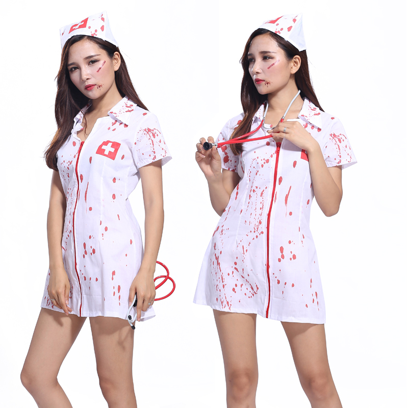 Halloween costume adult female nurse sexy bloody horror masquerade suit nurse Doctor Role Play Costumes