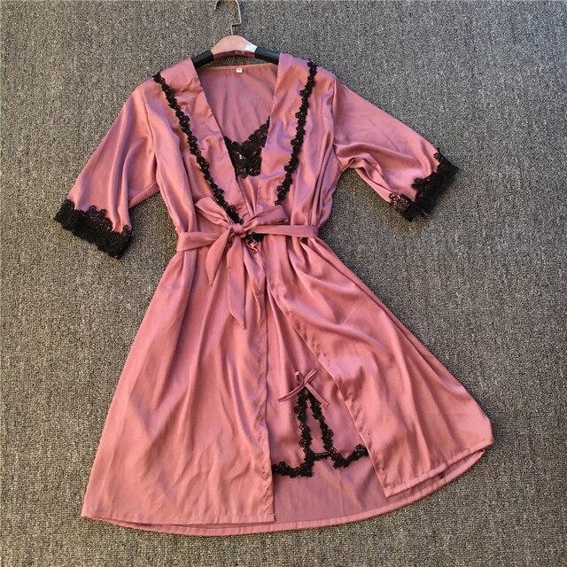 Brand New Solid Lace Satin Robe & Nightgown Set Women's Bathrobe Sexy Ladies' Summer Home Dress Kimono Twinset Sleepwear M030