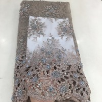 purple handmade lace fabric 3d blue beads sequins korean fashion design 2018 for party /stage/wedding/ bridal dress