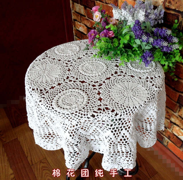 Christmas Beautiful Handmade Crochet Cotton Coffee Tablecloths Flowe Round Table  Cloth Cover Cloth Sofa Towel Home