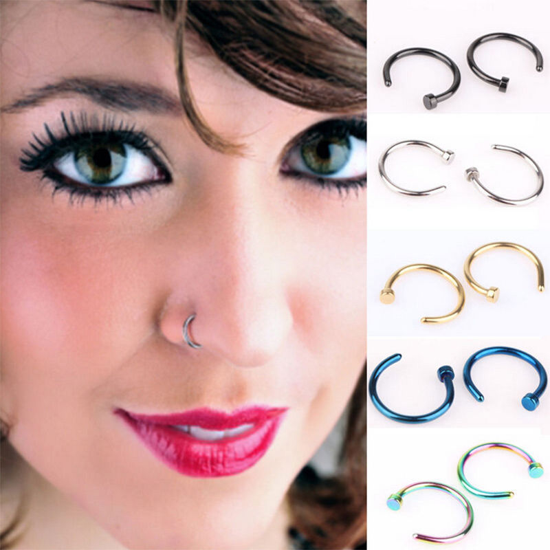 5Pcs Small Thin Jewelry Stainless Steel Nose Open Hoop Ring Earring Body Piercing Studs 8mm 5 Colour in Body Jewelry from Jewelry Accessories