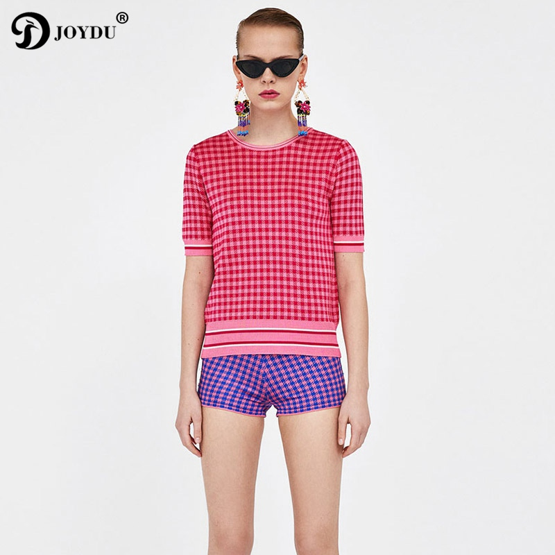 Runway 2 Piece Set Fashion Plaid O-neck Short Sleeve T-shirt High Waist Shorts Suit 2018 New Knitwear Womens Suit Twinset