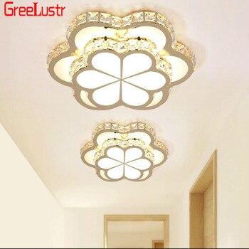 Flores led luzes de teto cristal lâmpada do teto ouro lâmpadas corredor lustre acrílico luminaria para o quarto luz iluminacion