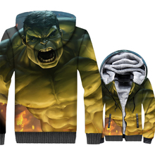 harajuku hoodies men 2018 winter clothing thick zip wool liner streetwear clothes Super hero funny Hulk 3D printed jackets coats