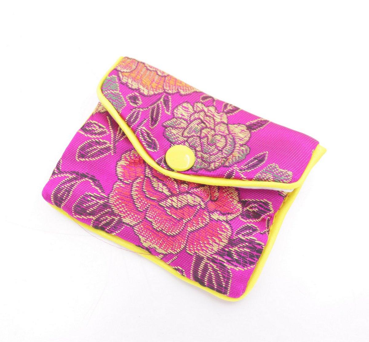 Купить с кэшбэком beauty 10 pcs pink flower baldachin cloth gift jewelry bags pouches 65mmx80mm