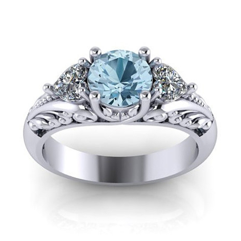 New Blue Zircon Heart Crystal Vintage Silver Weeding Party Fashion Ring for Elegant Wome ...