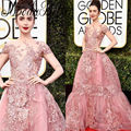Famous 2017 74th Golden Globe Award Lily Collins Red Carpet Celebrity Dresses Custom Handmade Applique Beaded Pink Evening Gowns