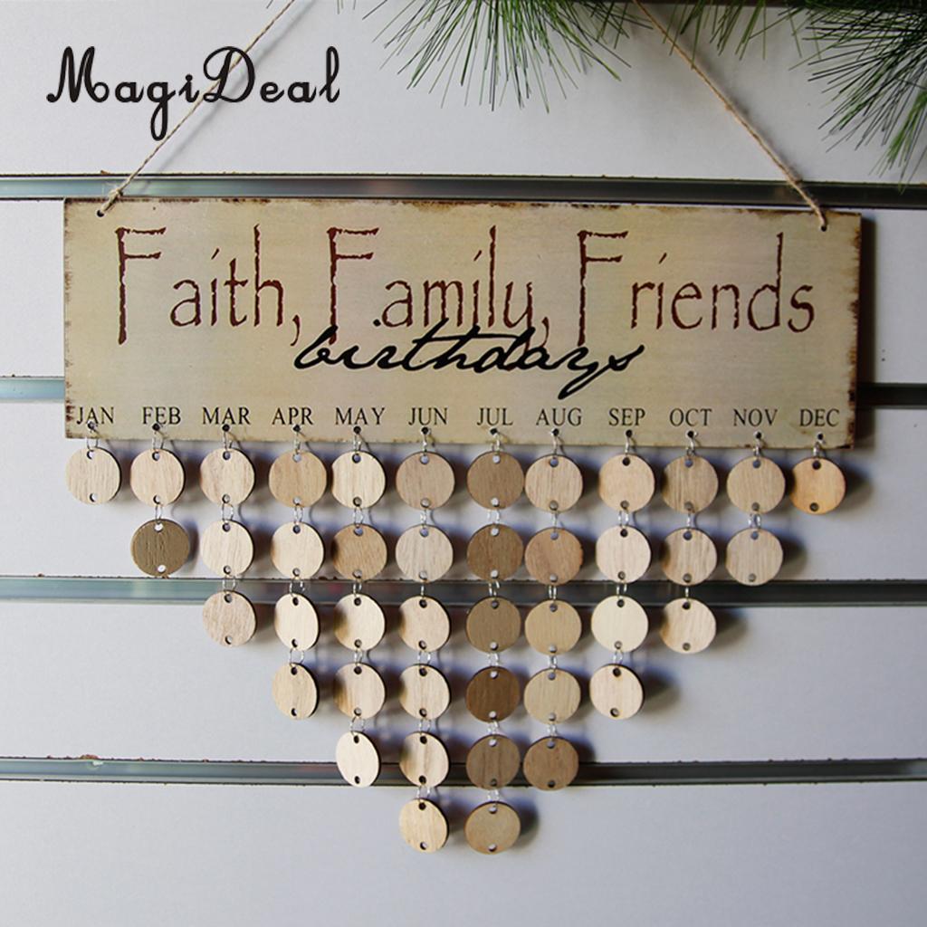 MagiDeal Faith Family Friends birthdays Reminder Calendar Wooden Board Planner Decor