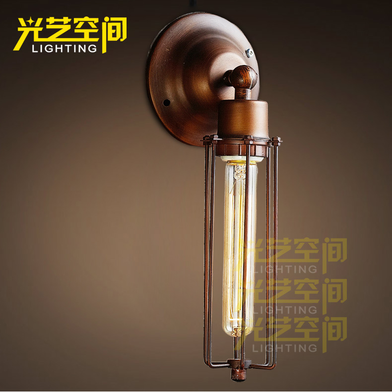 American Country Rust Color  Wall Lamps Nostalgic Vintage Wall Lamp Fresh Classical Loft Style Wall Light Free Shipping