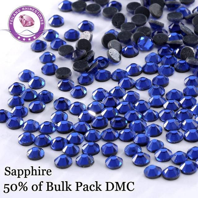 Bulk Price SS6 -SS30 Sapphire DMC High Quality Hotfix Rhinestones For Clothing Accessories DIY Decoration Iron On Stones