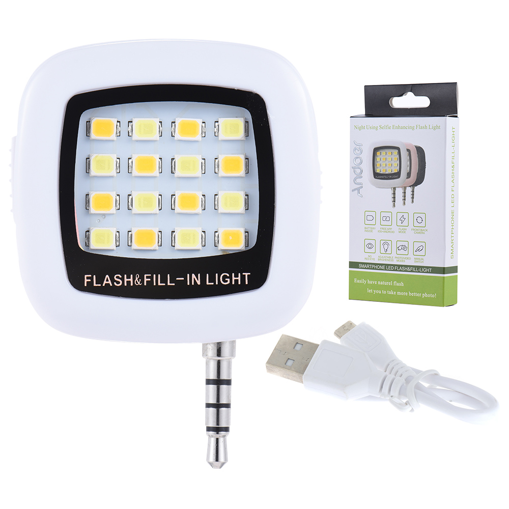 Mini 16 LED Selfie Flash Light For Smartphone Camera Support Running iOS/Android/WP8 Phone 3.5mm Jack Plug #D2