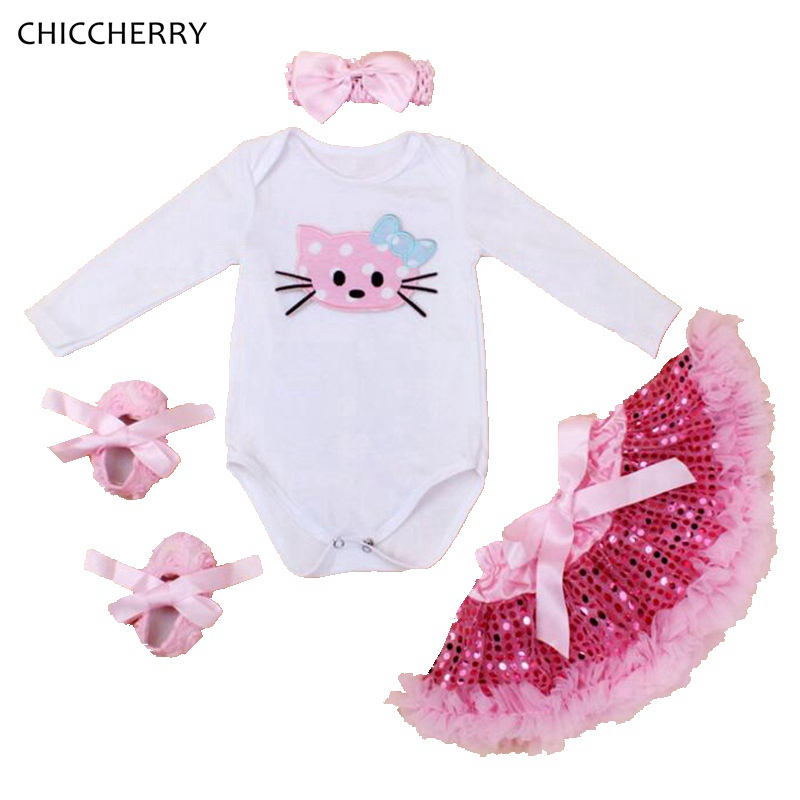 Hello Kitty Baby Girl Clothes Long Sleeve Bodysuit Paillette Skirt Headband Shoes Newborn Tutu Sets Toddler Birthday Outfits hot toddler girl clothing cake tutu skirt and long sleeved rompers suit high quality newborn baby girl sets birthday baby gift