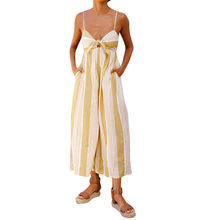 e5bdd91e9f5 Striped Jumpsuit 2018 Summer Bow Tie Front Backless Wide Legs Sexy Playsuits  Women Clothing Yellow Spaghetti Strap Jumpsuit JP4