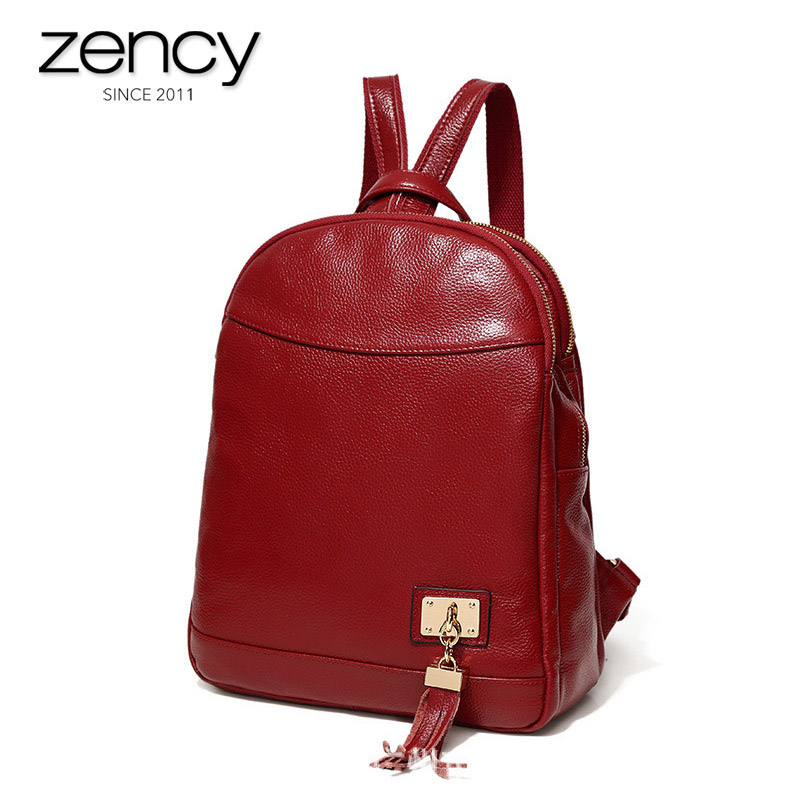 2018 Genuine Leather Fashion Female Travel Backpacks USB Charger Laptop Bags Girl's Casual Tassel 3 layers Pockets Women's Bolsa