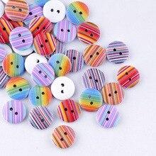 Розничная для Diy 20 шт случайный микс разноцветных полос Стиль Круглый 2 отверстия картина по дереву швейные пуговицы Скрапбукинг 15 мм F0086