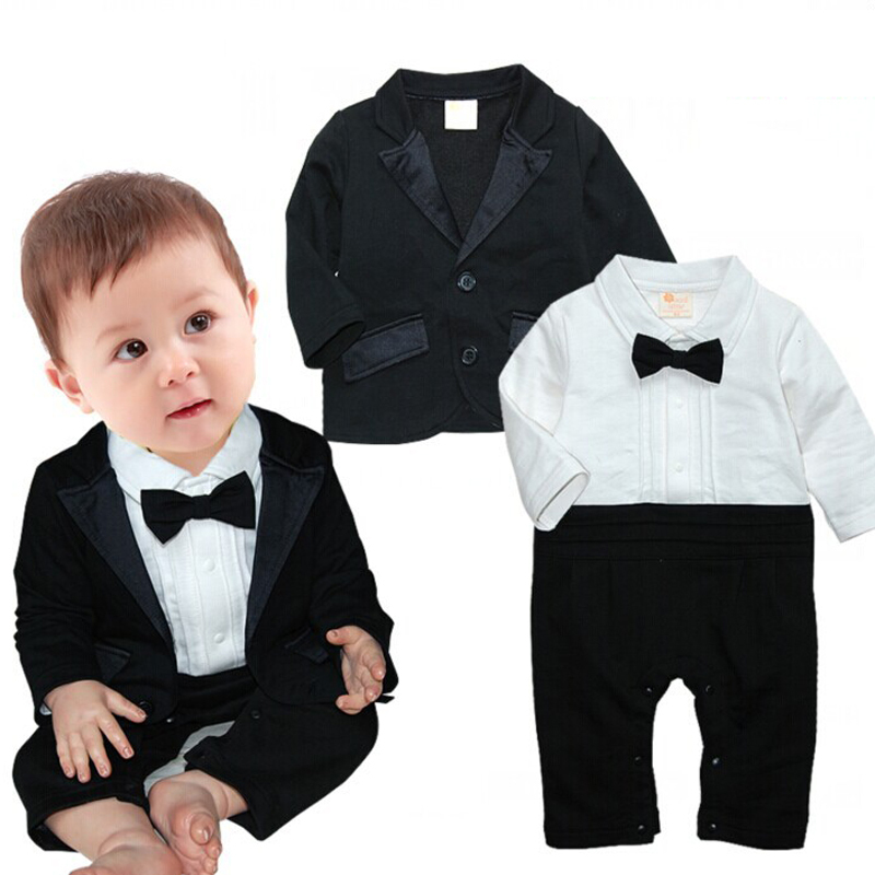 2017 Toddlers Baby Boy Set Gentleman Bow Ties Rompers + Jackets Infants 2 Pcs Suit Birthday Party Clothing