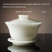 120 мл, Изысканная чайная чаша Gaiwan, натуральный белый нефрит, с крышкой, блюдце, набор, чайная церемония, чайная посуда, посуда для напитков, чайная супница, аксессуары