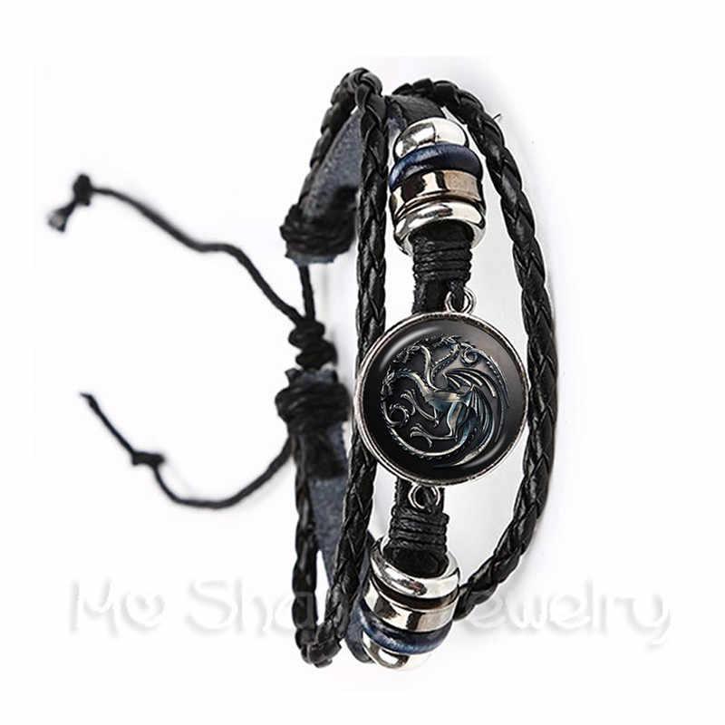 Bracelets noir/marron Game Of Thrones verre Cabochon cuir bracelet Stark Wolf House bijoux tête infinie meilleurs cadeaux