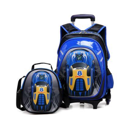 Sacs d'école 3D sur roues sacs à dos de chariot d'école sac à dos à roulettes d'école d'enfants sacs à dos de roulement d'école pour des sacs de voyage d'enfants de garçon