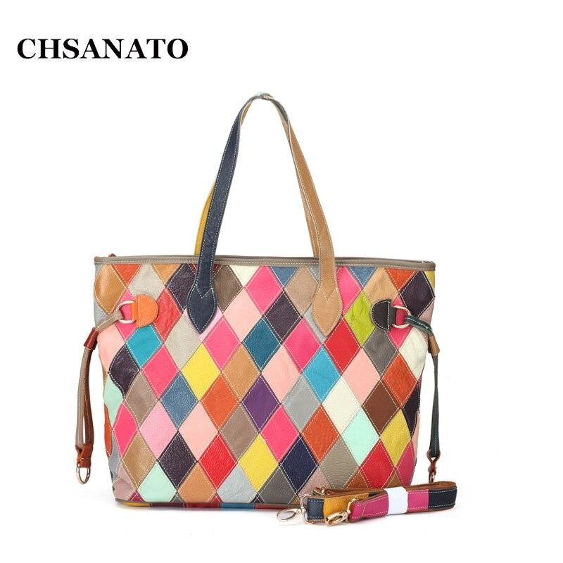 CHSANATO Wholesale Colorful 2018 Geometric Plaid Ladies Hand Bags Genuine Leather Handbag Cow Leather Women Patchwork