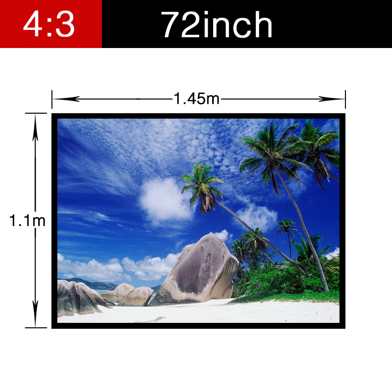 HD Home Theater Foldable Screen 72inch 4:3 Matt white Projector Best PVC Soft Projection Video with holes Portable fast free shipping 100 4 3 tripod portable projection screen hd floor stand bracket projector screen matt white factory supply