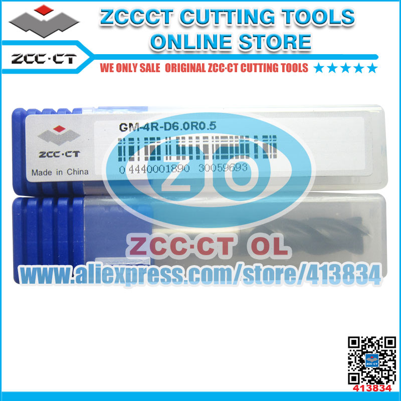 Free Shipping ZCCCT GM-4R end mills milling cutter D6,D8,D10 1 pack