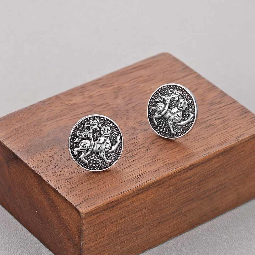 QIMING славянские тигровые серьги с изображением Льва для женщин Религиозные ювелирные изделия винтажные античные серебряные древние мужские серьги-гвоздики подарок