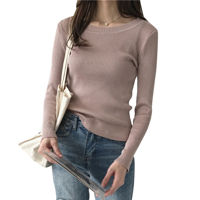 women sweater Solid Color pullover slim o-neck warm sweaters knitted jumper fashion women clothes pull  Swearter femme 2020