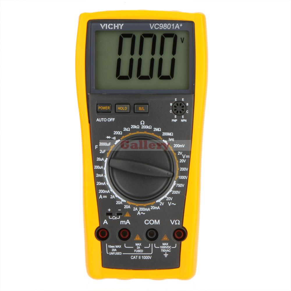 Vici VICHY VC9801A+ Digital Multimeter DMM AC/DC Ammeter Voltmeter Ohmmeter w/Capacitance hFE Test & LCD Backlight mastech my63 digital multimeter dmm w capacitance frequency