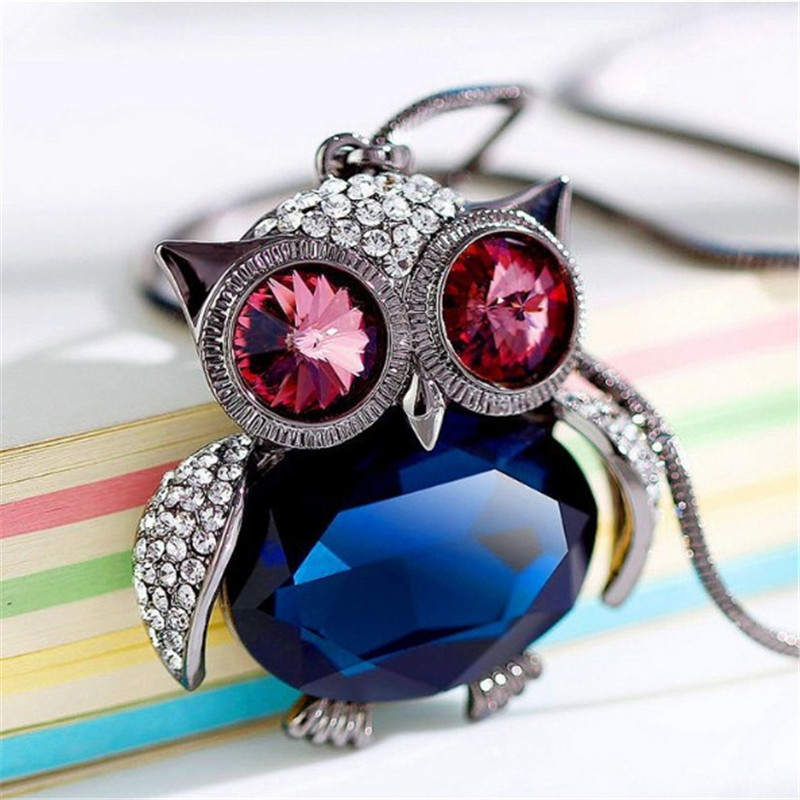 Lemon Value Statement Maxi Rhinestone font b Necklace b font Vintage Charms Owl Crystal Glass font