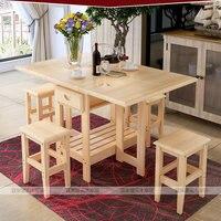 Твердая древесина складной квадратный Кофе обеденный стол с четырьмя стулья (без ящиков) e1 Материал здоровья зеленый Простые Модные