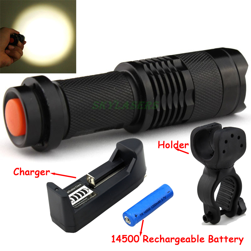 2000LM LED Q5 zoom led Flashlight light Minitorch LED Bicycle Front Light With Mount Holder+3.7V 14500 Battery + charger